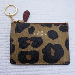New COACH Mini ID Case Wallet Animal Print Brown